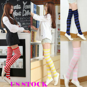 49308cdd3af US Women s Plus Size Striped Thigh High Socks Sheer Over The Knee ...