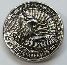USA 911 09/11/01 Memorial Lapel Pin in Antique Silver Plate, Made in USA, NEW