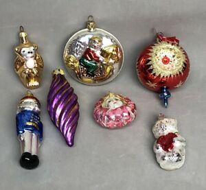 Lot of 7 Glass Blown Christmas Ornaments, 4 Germany 1 Poland