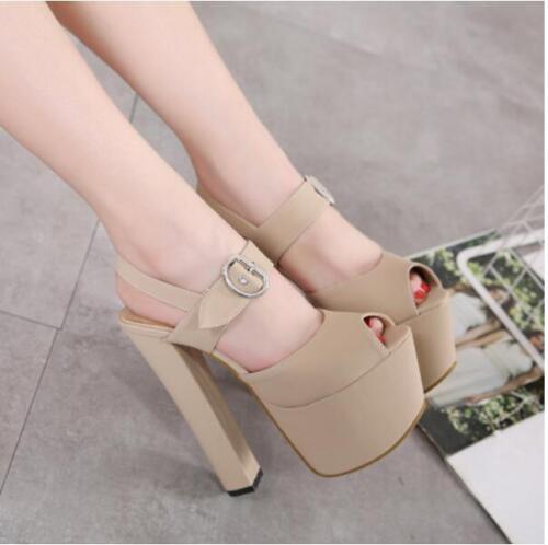 Chic Womens Block Heels Platform Peep Toes Slingbacks Buckle strap Sandals Shoes