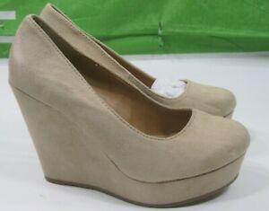 New-Ladies-Beige-4-034-High-Wedge-Heel-1-034-Platform-Sexy-Round-Toe-Size-8-5