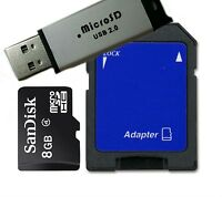 Sandisk 8gb Class 4 Microsd/micro Sdhc+ Reader/sd And Usb Flash Drive Adapter