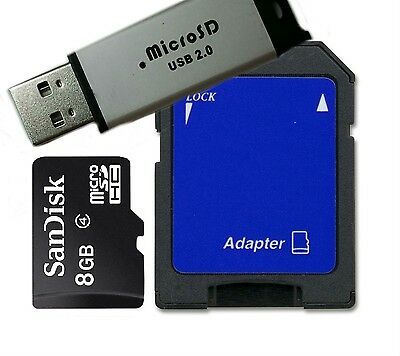 New SanDisk 8GB Class 4 MicroSD/Micro SDHC+ Reader/SD & USB Flash Drive adapter