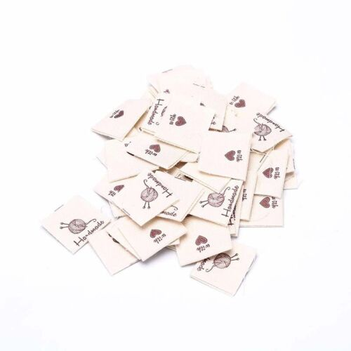 50pcs Handmade labels tags fabric making sewing crafts for clothes bags DIY XDUK