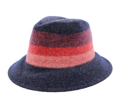 cc9338690d6 Details about Suzanne Bettley Ladies Wool Blend Red & Blue Fedora Hat 154  57cm Adjustable
