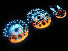 92-95 Honda Civic Automatic AT Transmission Flamed white face Glow Gauges Kit