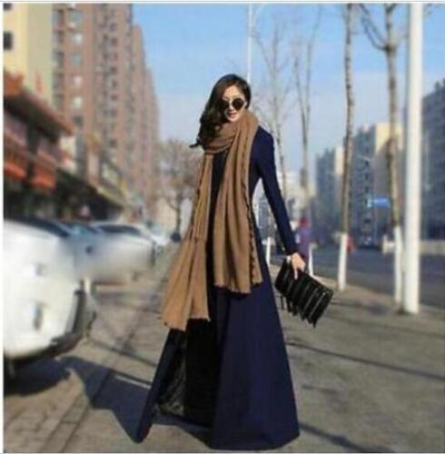 Womens Wool Blend Slim Full Length Military Parka Dress Long Trench Coat Outwear