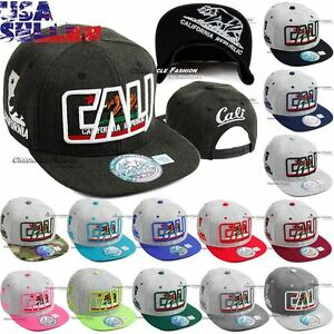 CALI-Baseball-Hat-California-Republic-Cap-Bear-Embroidered-Snapback-Adjustable
