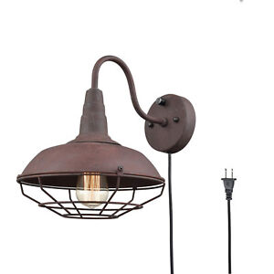 sports shoes e929d 8ba83 Details about Plug-In Farmhouse Metal Gooseneck Wire Caged Hall Wall Sconce  Lighting, Rust