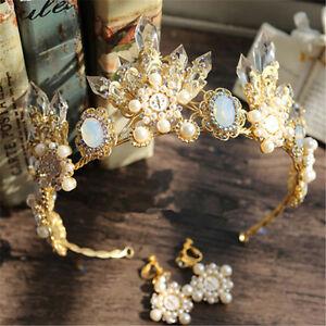Baroque Crown Wedding Bridal Crystal Pearl Headbands Tiara Earrings Jewelry Set