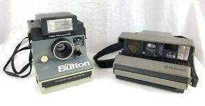 "2 Vintage Polaroid Cameras - ""The Button"" W/Flash Attachment & Spectra System!!!"
