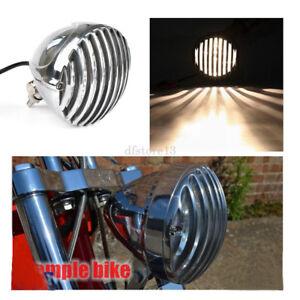 Chrome-moto-festonnee-phare-ailettes-grill-headlight-pour-Harley-Bobber-Chopper