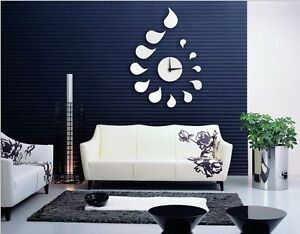 Water Drops Plastic Acrylic Clock Mirror Wall ROOM Decal Decor Vinyl Art Sticker