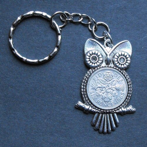1965 54th Anniversaire LUCKY SIXPENCE Hibou Charme Porte-clés Argent Carte Boîte Cadeau Mariage