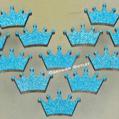 "Birthday Party Baby Shower Princess Mini 1/"" crown Blue Glitter Decoration 20 pc"