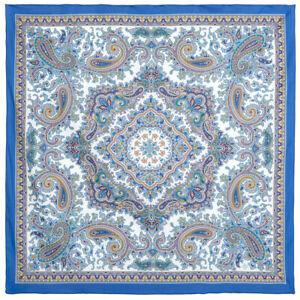 Bleu-100-coton-Pavlovo-Posad-Chale-1746-13-Authentique-Russe-Paisley-Floral