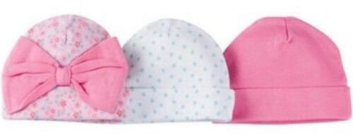 FLOWERS NWT GERBER NEWBORN BABY GIRL/'S 3-Pack Cotton Caps Hats Pink