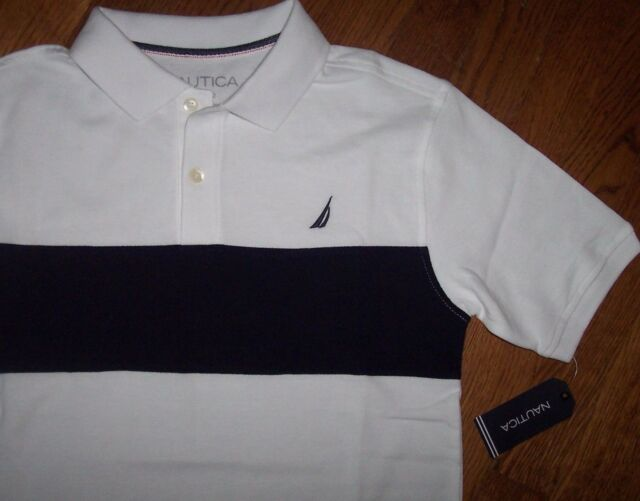 2b4550757cab68 NWT Nautica Boys White/Navy Blue Cotton Mesh Polo Shirt S/8 Sailboat ...