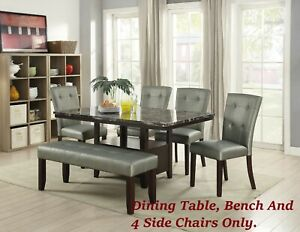Enjoyable Details About Silver Faux Leather 4 Side Chairs Bench And Dining Table Dining Room Furniture Machost Co Dining Chair Design Ideas Machostcouk