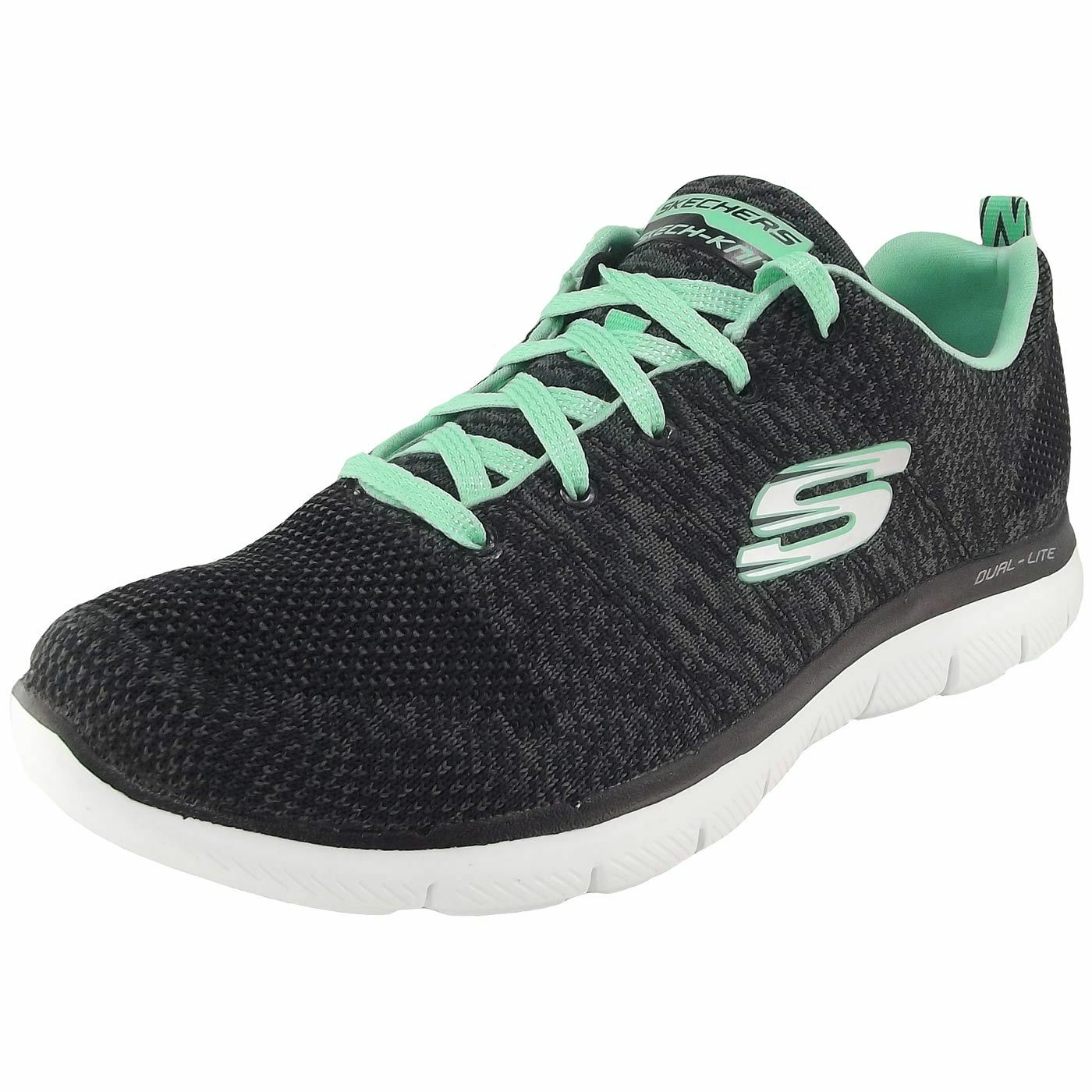 Skechers Flex Bppeal 2.0 High Energy Damen Sneaker schwarz/türkis (black/aqua)