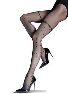 Sexy-a-Pois-con-Motivo-Calze-Nere-20-Denari-Trasparente-Collant-Knittex-Lolita