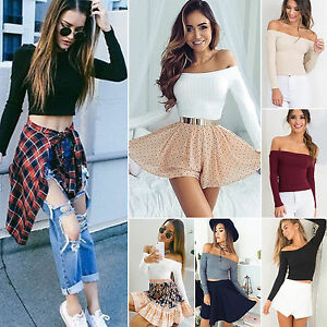 Womens-Off-The-Shoulder-Slim-Blouse-Tops-Long-Sleeve-Crop-Belly-Tops-T-shirt-Hot