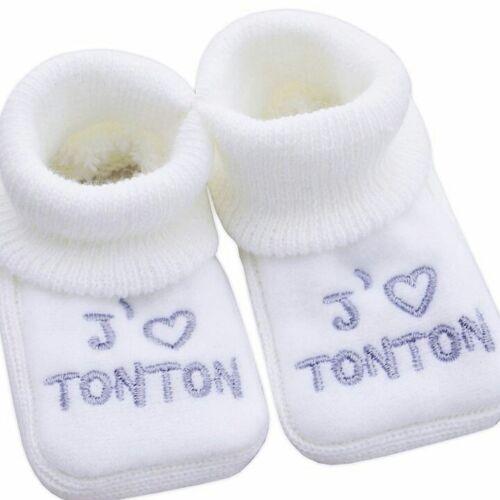 Nissanou CHAUSSONS bebe blanc j/'aime tonton