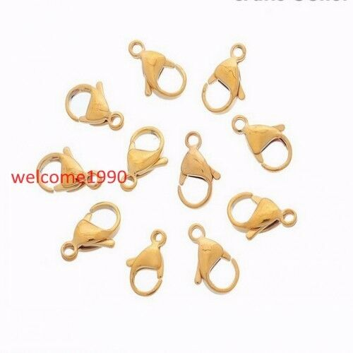 Wholesale Stainless Steel Gold Lobster Claw Clasp Fastener hook Finding 9mm-19mm