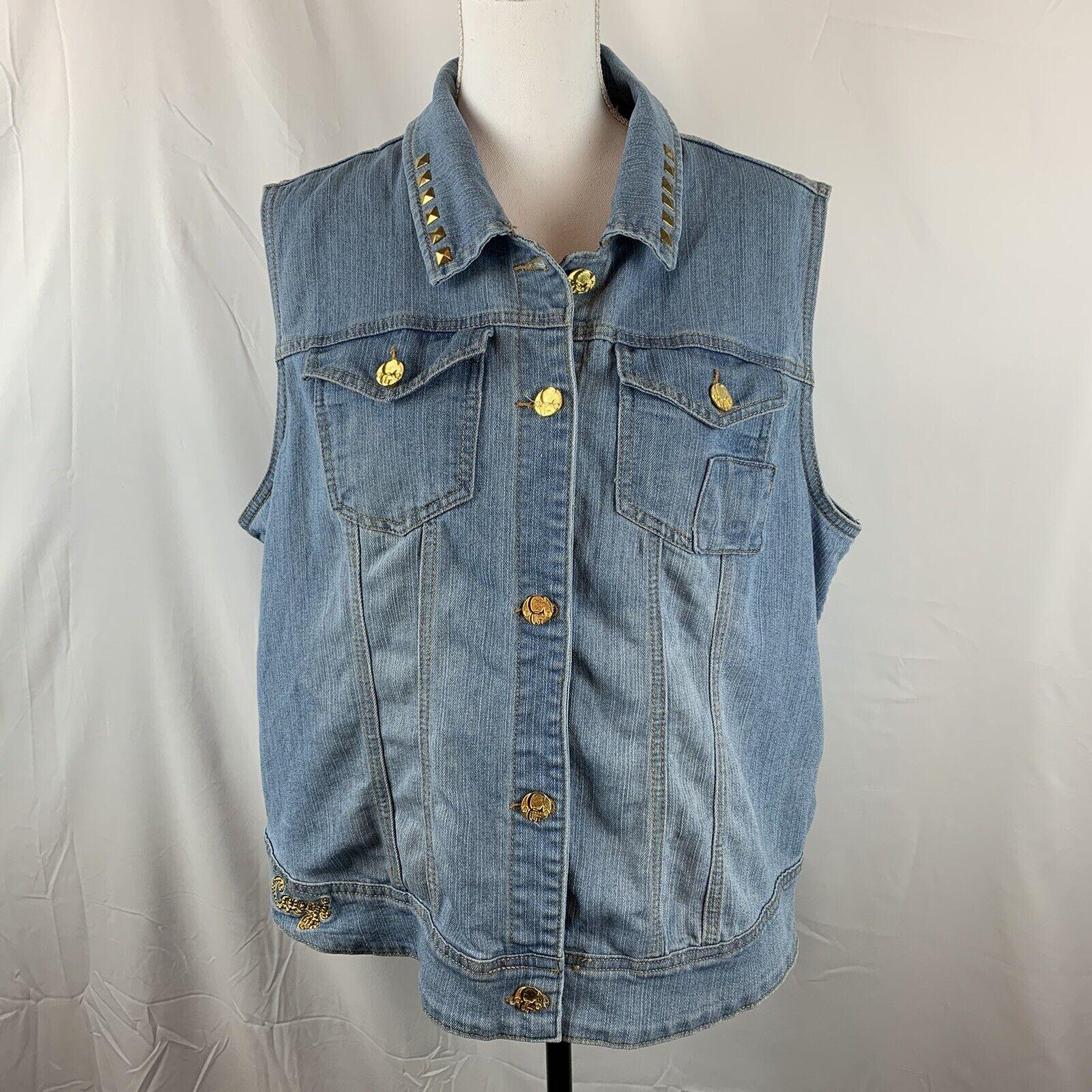 Coogi Womens Denim Vest 2X Blue Gold Tone Buttons Studs Pockets