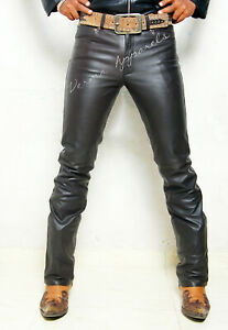 classic causal original product Dark Brown leather slimfit leather jeans pant 501 style fits over boots