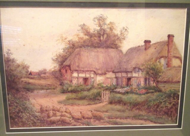 vintage signed M.C. Tennant landscape barn farm watercolor painting realism