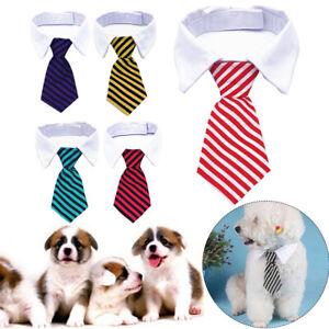 Dog Cat Pet Puppy Kitten Lattice Fashion Bow Tie Clothes Striped Necktie Collar