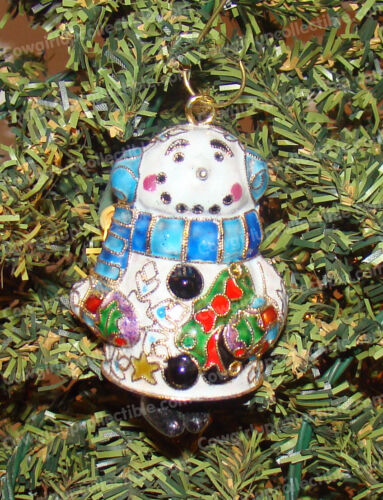 Baked Enamel Snowman Bell Ornament Hand Painted Cloisonne 4614