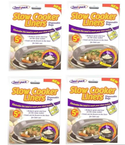 4 X Slow Cooker Liners Pk of 5 For Round /& Oval Slow Cookers No Mess  SEALAPACK