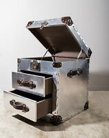Industrial Trunk Style Silver Chest Of 3 Drawers Vintage Storage Travel Lid Open