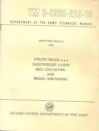 Mighty potrebbe leggero 1//4 TON 4x4 M422 /& M422A1 Mighty potrebbe gli operatori manuale