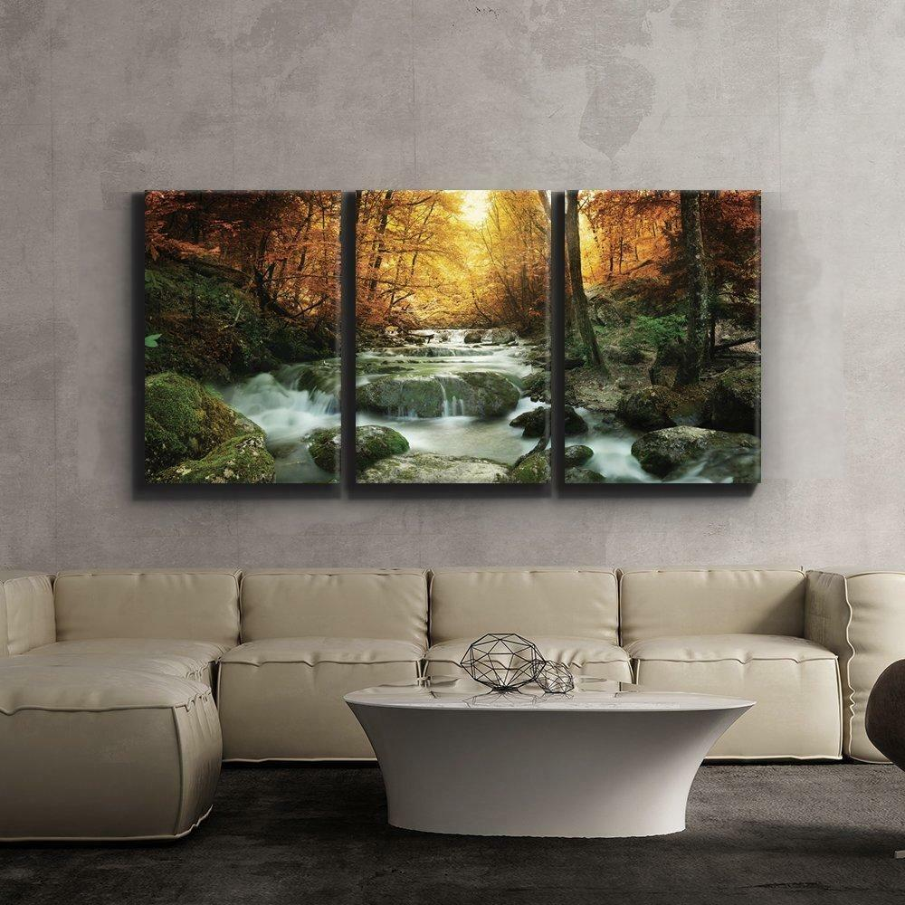 Canvas Wall Art Forest Nature Waterfall River 3 Piece Decor Home 16 x 24 x 3 New