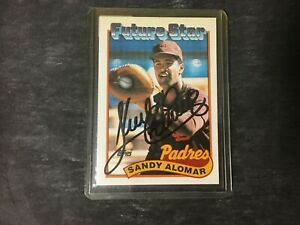 SANDY-ALOMAR-JR-AUTOGRAPHED-CARD-1989-TOPPS-SAN-DIEGO-PADRES-CLEVELAND-INDIANS