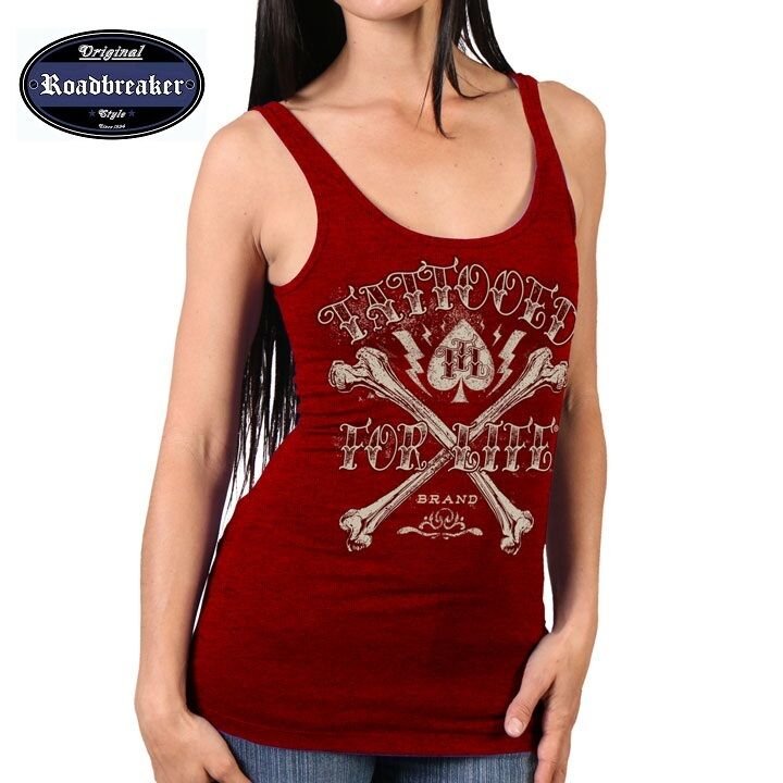 Frauen T Shirt red HD Chopper Tattoo Biker-& Choppermotiv Modell Bones Tattoo