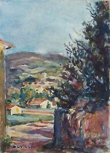 Daniel-DUVILLE-paysage-Aquarelle-vers-1950