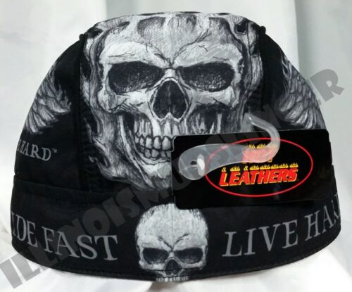 Bad Scratch Design Flaming Winged Skull Headwrap Biker Du-Rag Cap #1062