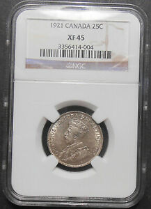 1921-Twenty-Five-Cents-NGC-EF-45-HIGH-Grade-SCARCE-George-V-KEY-Canada-Quarter