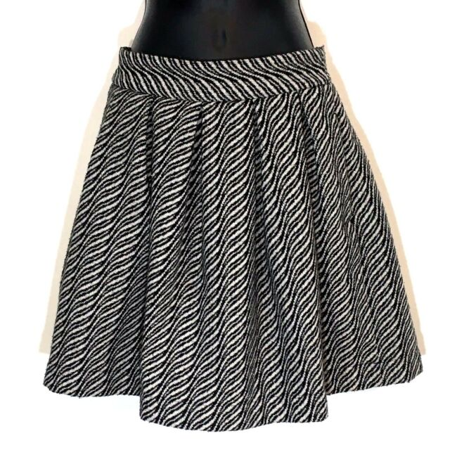 35facd6566 Anthropologie Skirt Storm Marie S 36 black stripe wool blend pleated Alaia  New