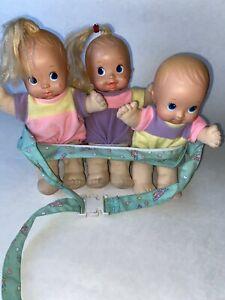 Vtg-MATTEL-MAGIC-NURSERY-Fuss-amp-Giggle-Baby-Doll-Waist-Carrier-TRIPLETS-Boy-Girl