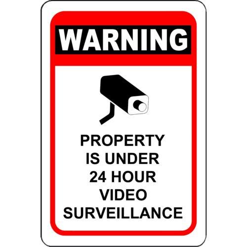 Warning Property Under 24 Hour Video Surveillance Aluminum Sign