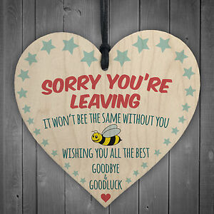 Sorry You're Leaving Wooden Hanging Heart Cute Funny Work ...