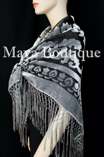 Poncho Shawl top With Fringe Silver Gray Black Burnout Velvet Maya Matazaro
