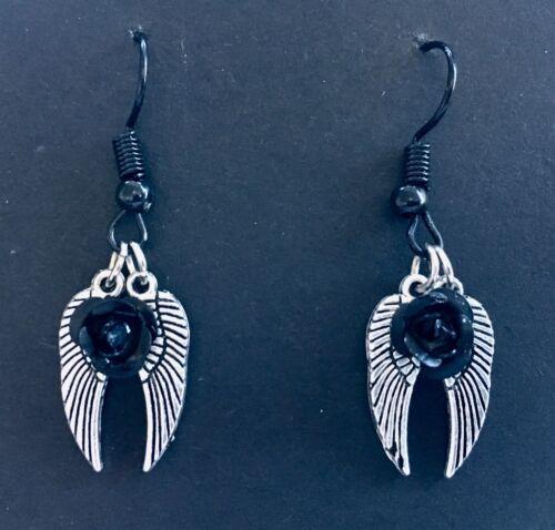 Dark Angel Wings And A Black Aluminium Rose Silver coloured Dangle Earrings
