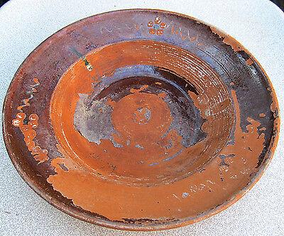 ANTIQUE OLD PRIMITIVE REDWARE GLAZED ROUND BOWL PLATE