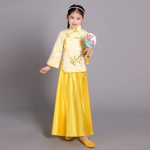 New Elegant Chinese Traditional Children Kids Dance Costume Girls Han Tang Dress